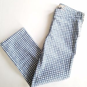 Tory Burch Blue Grid Cropped Pant Size 28